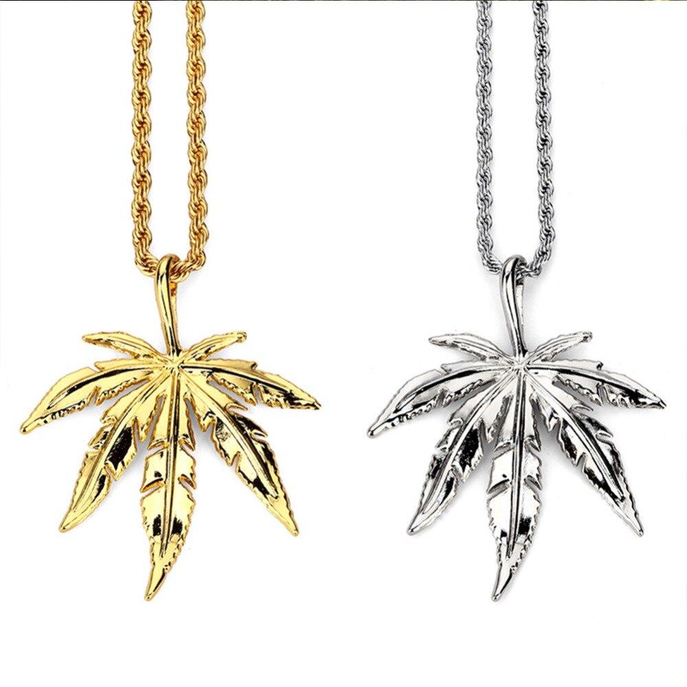 Encanto de collares de hojas de las mujeres de los hombres de oro hierba cadenas de hierbas DJ Bar baile Bling joyería regalos colgantes hip hop gargantilla #274166