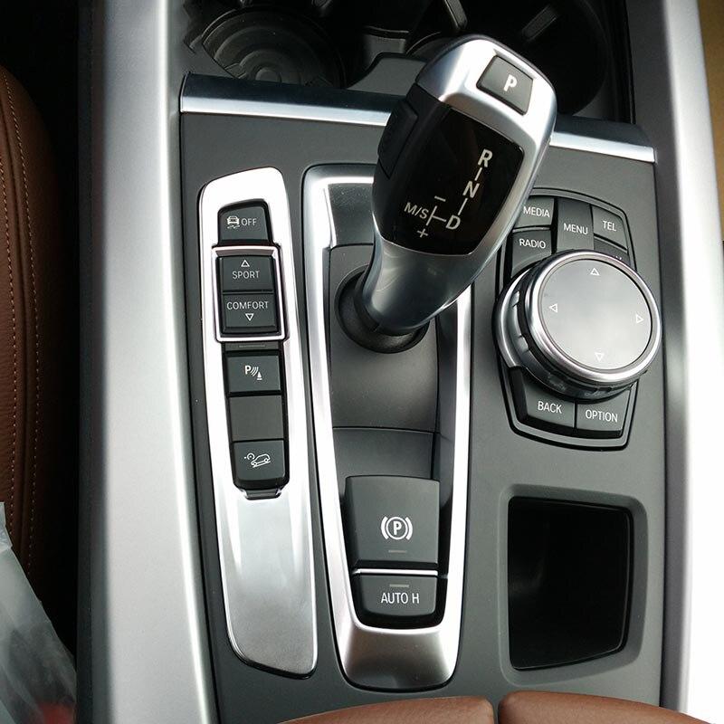 Acessório interior do carro botão de mudança de engrenagem capa adesivo guarnição para bmw x5 f15 x6 f16 2014 2015 2016, estilo do carro