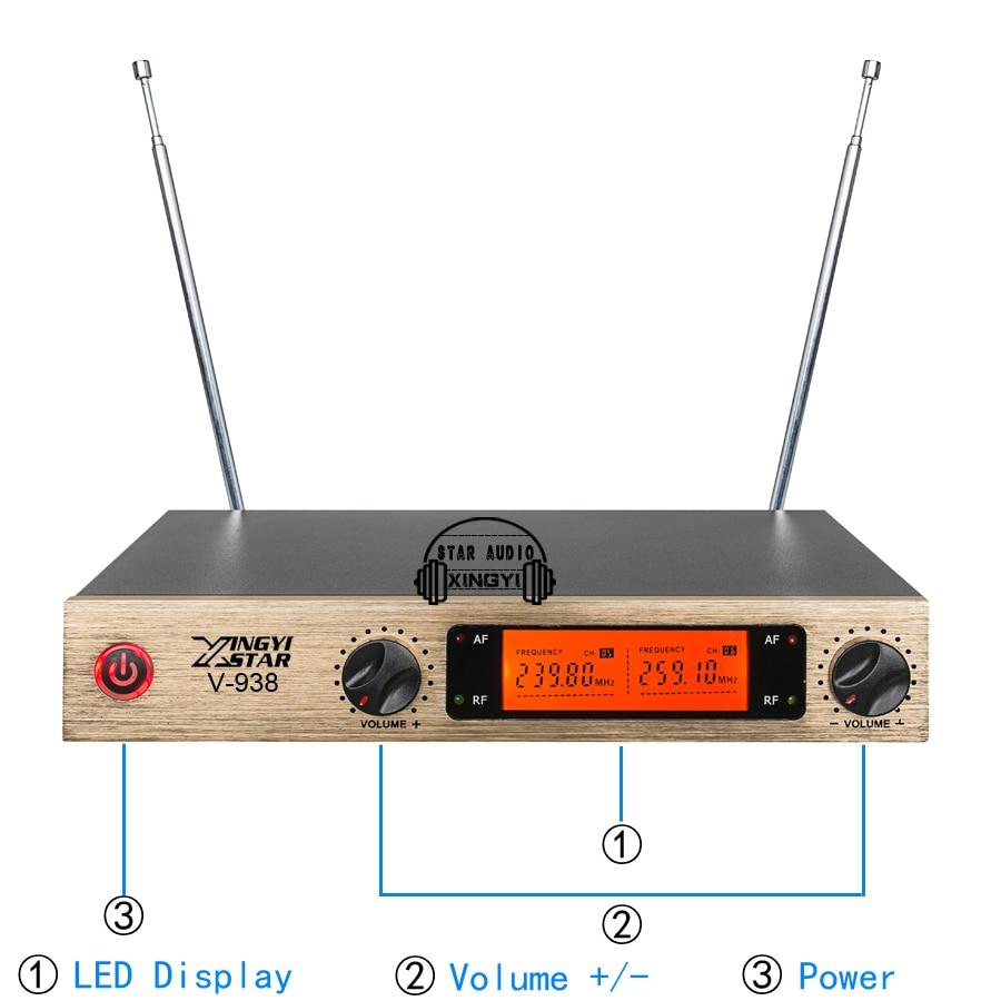 Professional Karaoke Wireless Microphone System V938 Dual Metal Handheld Cordless Mic 2 Channel LED Display Transmitter Receiver enlarge