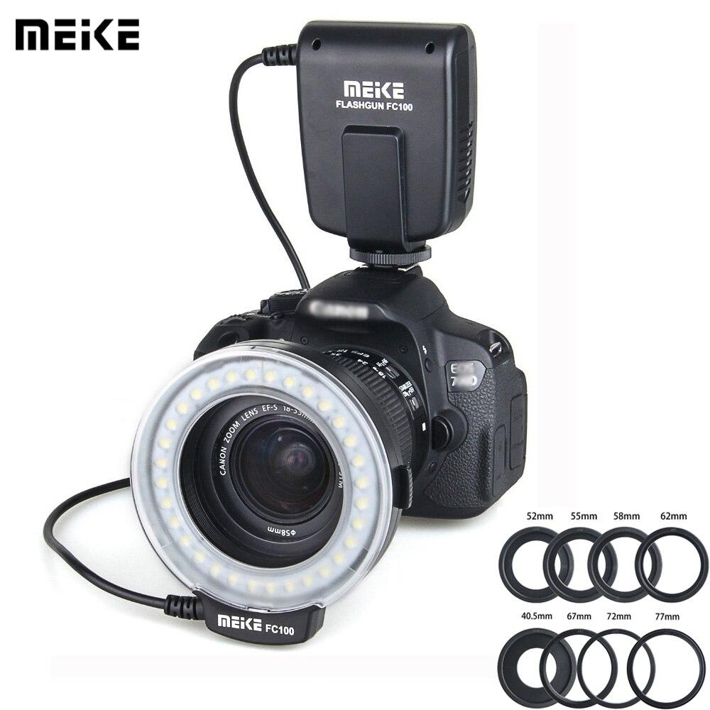 Meike fc 100 speedlite macro led anel flash luz estúdio foto para nikon d200 d3100 canon eos 70d 60d t4i t3i 6d dslr camara