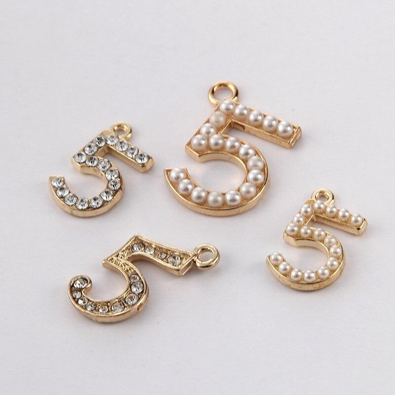 MRHUANG 10 pièces/paquet numéro 5 breloques couleur or pendentif Bracelets à faire soi-même collier bijoux accessoires