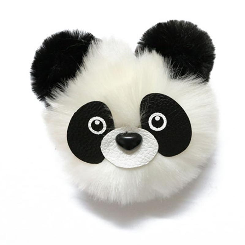Fashion Fluffy Faux Rabbit Fur Ball Panda Toy Keychain Women Cute Pom Pom Fur Key Ring Trinket Pompom Bear Bag Charms Key Holder