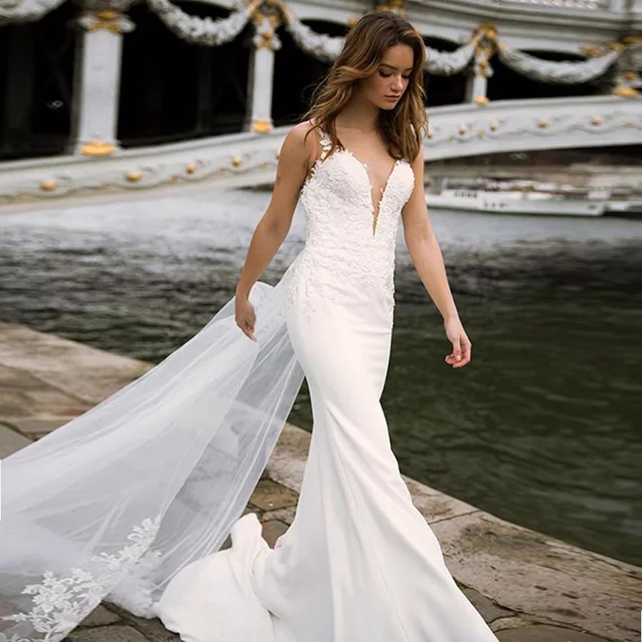 Deep V-neck Bodice Double Layered Mermaid Wedding Dress With Detachable Train Illusion Tattoo-Style Back Bridal Dress