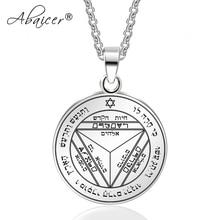 Abaicer-septième pentacle de saturne clé de salomon Sigil plaque pendentif acier inoxydable collier