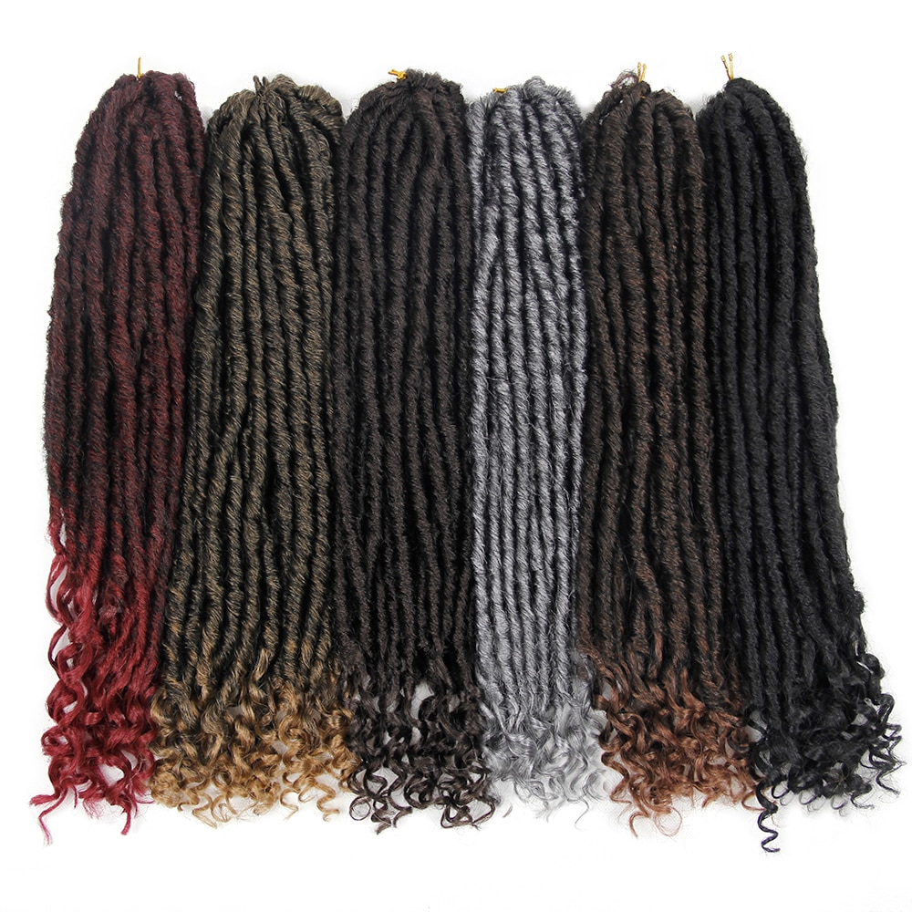 EUNice Falso Locs 18 polegada Ombre Dois Tons de Cabelo de Crochê T27/30/BUG Locs Falso Sintético Curly Crochet extensões tranças 1-10PACKS