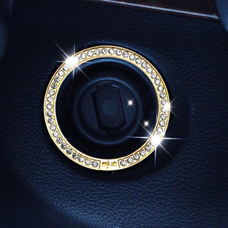 Cristal de parada de arranque de motor de coche anillo de botón de arranque para Mercedes Benz W203 W210 W211 AMG W204 C E S CLS CLK DE LA CIA SLK A200 A180 A260