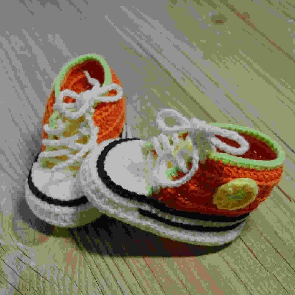 QYFLYXUEQYFLYXUE-Envío gratis, zapatos deportivos hechos a mano de ganchillo para bebé, escarpines de punto para bebés 100% de algodón de 0 a 12M, accesorios para fotografía