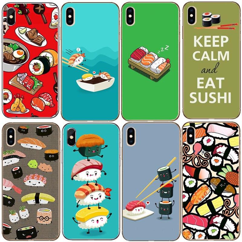 La cocina Japonesa Sushi comida celular de silicona suave funda de teléfono TPU caso para iphone XS MAX XR 8X8 7 6 5 5S SE 6s plus 8 Pío