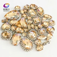 golden champagne mix size crystal buckleclaw rhinestonesilver base galss sew on stones diyclothing accessories 50pcspack