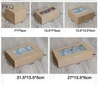 Kraft Paper cake box with clear pvc window,blue Cookies Biscuit cupcake box,white dots gift packaging box for Snack sweets