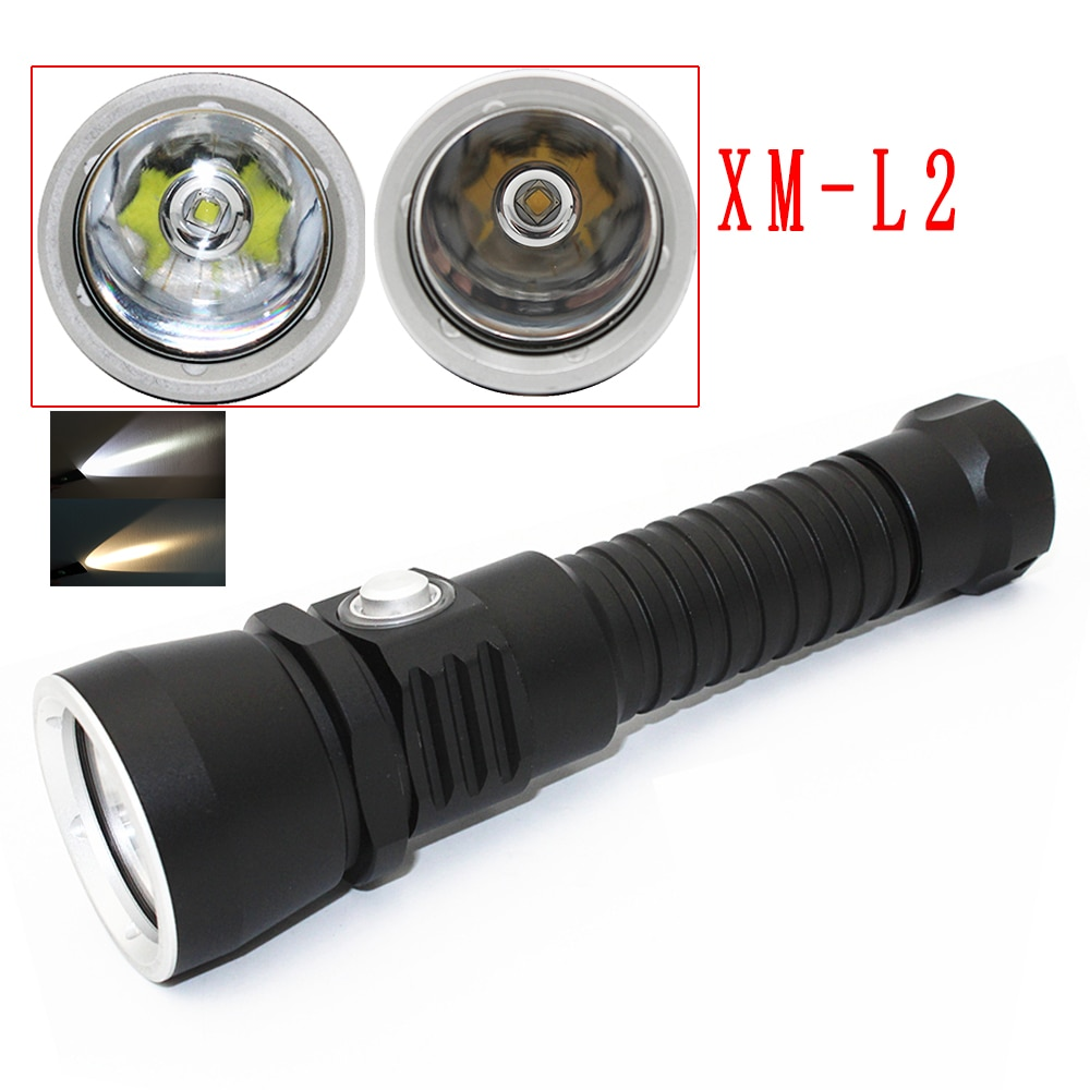 Waterproof LED Diving Flashlight 1000LM XM-L2 Diving Torch White/Yellow Light Lantern Underwater Torch 18650 Lamp