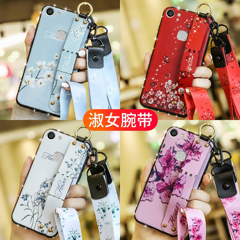 Wrist Strap Case for VIVO V9 Y85 Y91 Y95 Y91C Y97 Y93 Y75 Y83 Y81S Y79 V7 Plus Y71 Y67 Y66 Y65 Y55 Y51 V15 Pro Neck Strap Case