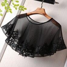 Черный новый весенне-летний кружевной воротник, Солнцезащитный плащ, шаль, тонкая короткая куртка без бретелек, Маленькая шаль, жилет, кружевная ткань