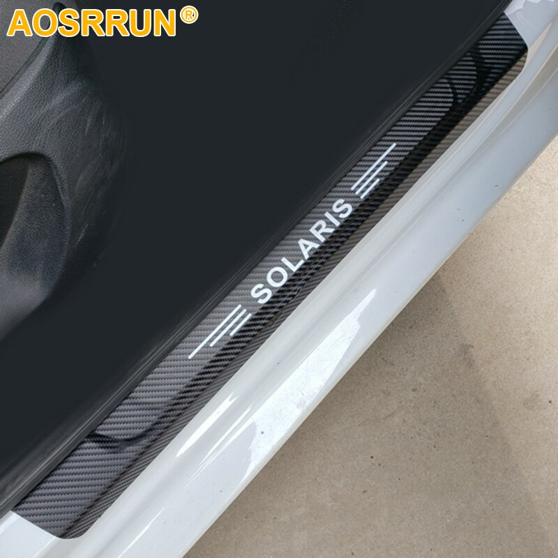 Aosrrun Pu Lederen Instaplijsten Scuff Plaat Auto Accessoires Voor Hyundai Solaris Sedan Hatchback 2012-2015 2016 2018 2014