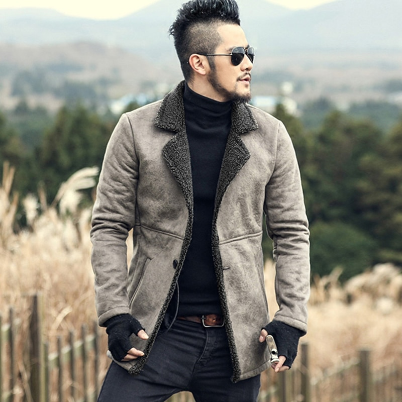 2019 hombres invierno de piel sintética de lana largo Delgado grueso cálido abrigo chaqueta de hombre estilo europeo de marca de moda casual chaqueta de Cachemira retro