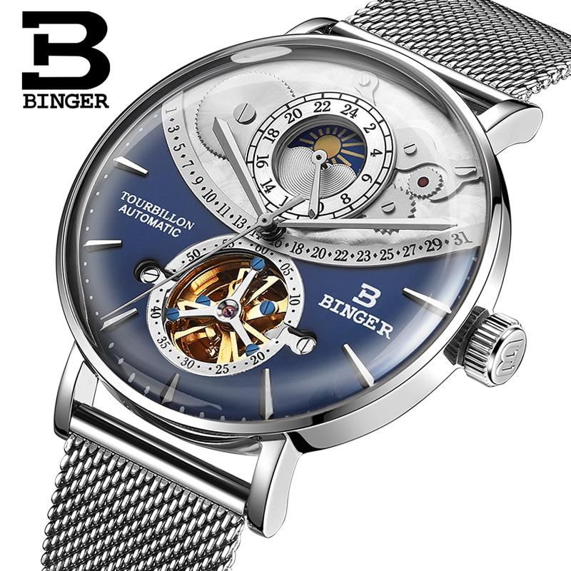 Reloj mecánico automático Suiza BINGER para hombre, relojes de marca de lujo con zafiro, reloj resistente al agua Masculino, reloj B-1-6 para hombre