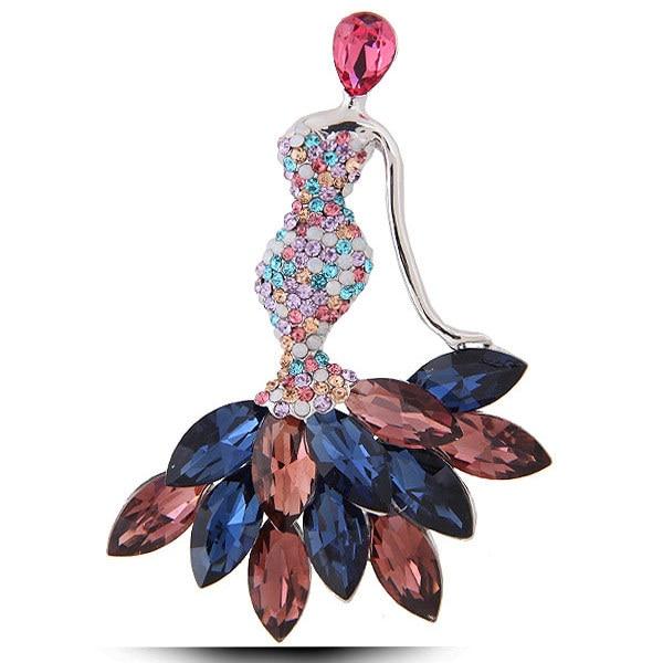 De moda brillante de Madame temperamento broche Pin bufanda de seda botón accesorio fiesta regalo de cristal checo
