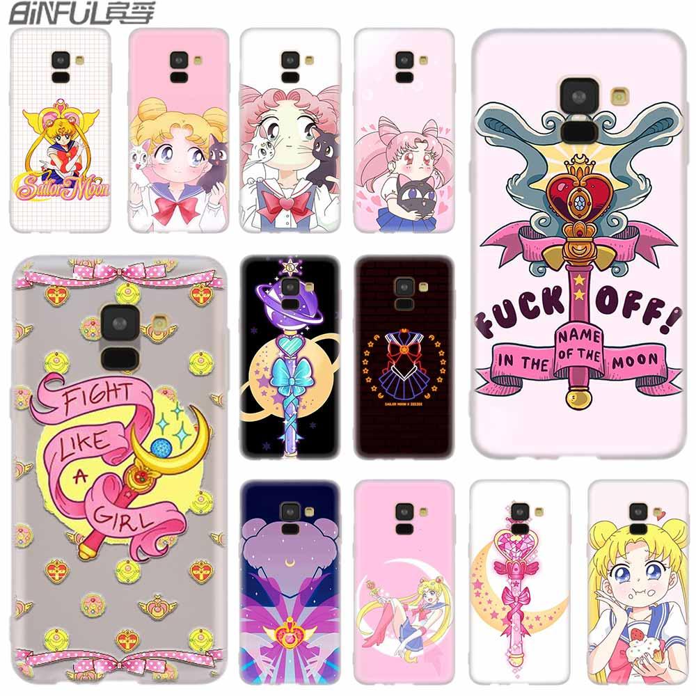 Силиконовый чехол для Samsung Galaxy A6 A8 A9 A7 A5 A3 Plus 2018 2017 2016 2015 A71 Star Beautiful Sailor Moon