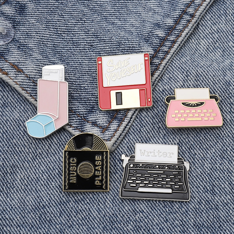 Music Disk CD Printers Faxes Breather Inhaler Memory Card Daily supplies pins and brooches Badges Enamel Lapel pins
