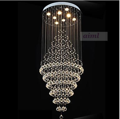 Modern LED K9 Crystal Chandelier Lighting K9 Lamp Fixtures with 8 Bulbs D60CM H180CM CE 110-220V Stairs hall pendant LED Crystal  - buy with discount
