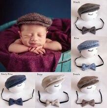 Chapeau bonnet à visière pour nouveau-né   Chapeau + nœud papillon, accessoires de photographie, ensemble costume pour petit homme doux