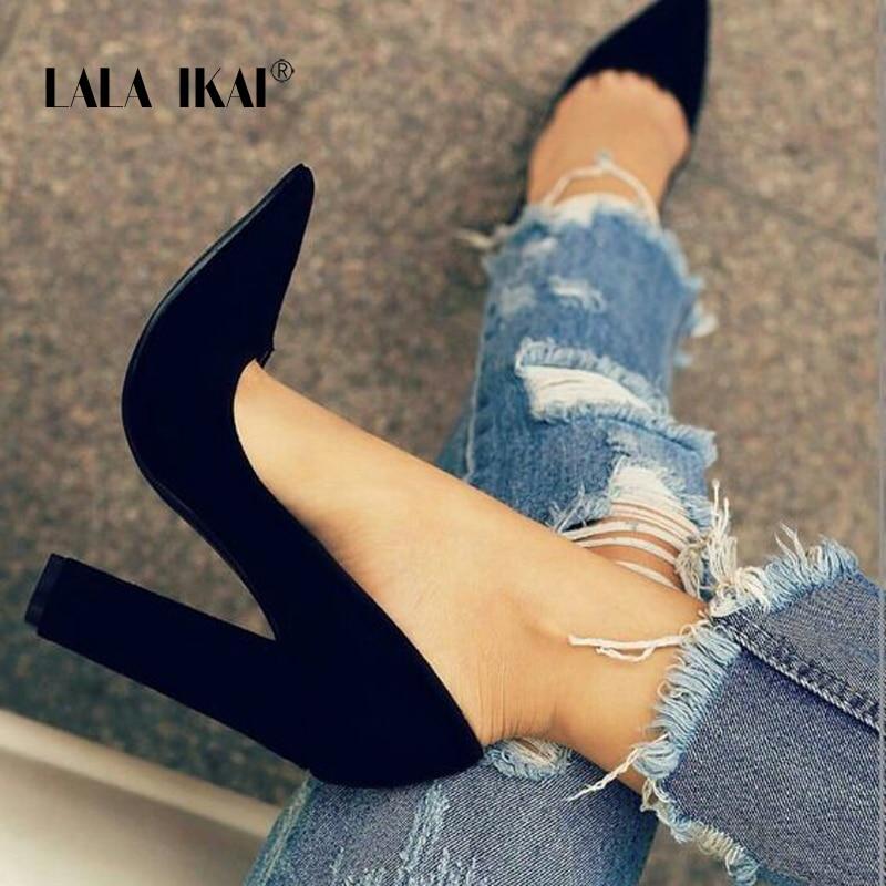 LALA IKAI/женские босоножки из искусственной замши; Однотонные туфли-лодочки; Классические сандалии; Слипоны на высоком каблуке; Женская модная...