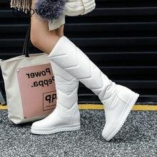 Winter Warm Plush Knee High Boots Women comfy Flat Heel Snow Boots Slip On Platform Woman Long Boots Shoes Black Pink White 2019
