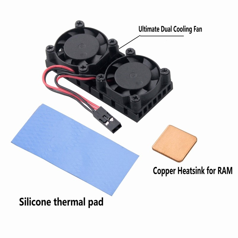 2 Pcs Gdstime Ultimate Dual Cooling Fan and RAM Copper Heat Sink Cooler For Raspberry Pi 3 Raspberry Pi 2 Model BB+ NESPi