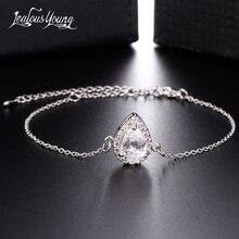 Fashion Water Drop Zircon Chain Link Bracelet Silver Color Bracelets & Bangles for Women Gift Charm Bracelet Jewelry Accessories