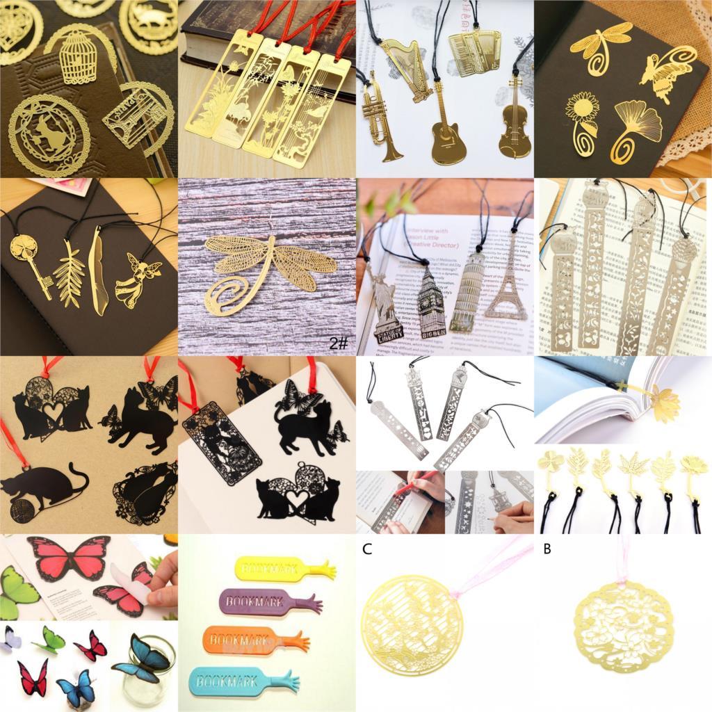 Mignon Kawaii chat plume papillon signets pour livre cheval cage à oiseaux creux métal signet règle pour enfants étudiant cadeau école