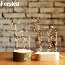 Horsten 3D cerf en bois lampe de bureau wapiti créatif Table lumières artisanat LED veilleuse chambre noël jouet cadeau prise USB