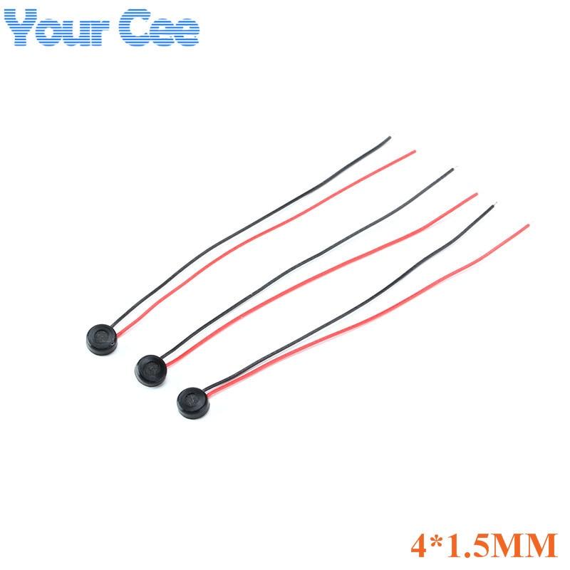 Конденсаторный микрофон eletret, емкостной Электрет-микрофон, 5 шт., 4 мм x 1,5 мм, для ПК, телефона, MP3, MP4, с 2 проводами, длина провода 5,5 см