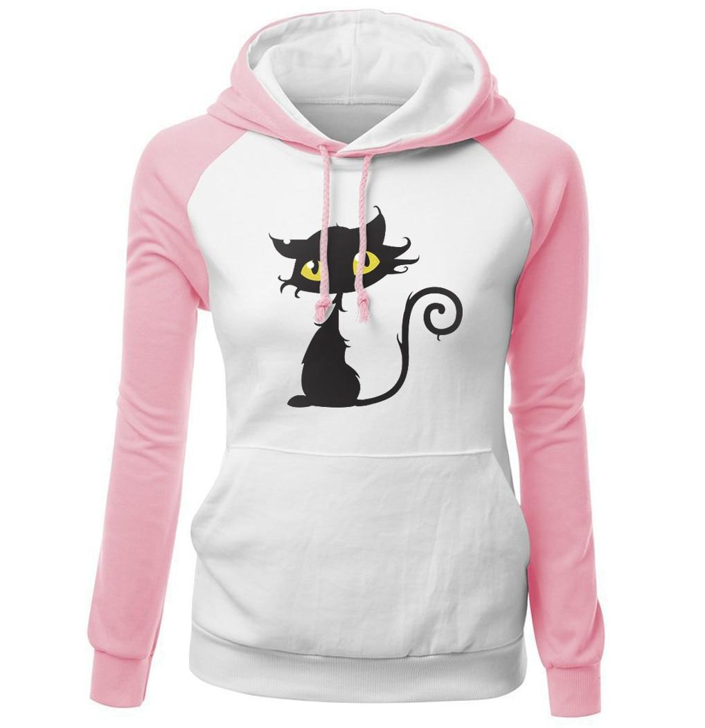 2018 Autumn Winter Sweatshirts Female Fleece Raglan Hoody Streetwear Kawaii Cat Hip Hop Womens Hoodies Brand Clothing Harajuku