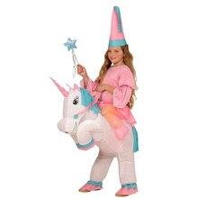 Disfraz de dinosaurio inflable unicornio vaquero divertido Animal Cosplay niños niñas mascota de lujo impermeable traje de fiesta para Halloween Niño