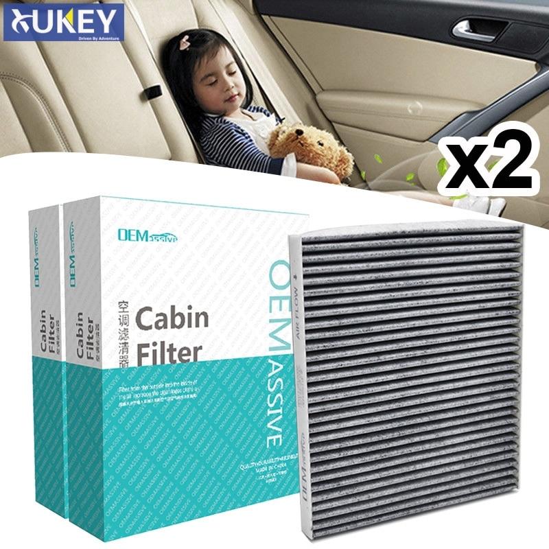 Filtro de aire de cabina de carbono activo para coche, 2 uds., 97133-2E200 97133-2E210AT para Hyundai Accent ix35 i40 Genesis Kia Rio Carens Sportage