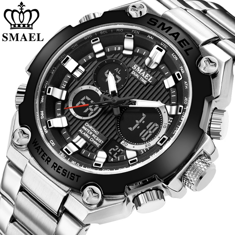 SMAEL Brand Men Military Sport Watches Mens LED Analog Digital Watch Male Army Stainless Steel Quartz Clock Relogio Masculino weide mens quartz movement analog military army digital stainless steel wrist watch relogio masculino women watch gift