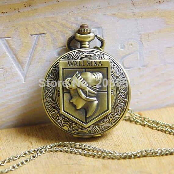 Attack on Titan Antique Charm Wall Maria Sina brass 10pcs/lot big size Pocket Watches quartz movie cartoon Necklace steampunk