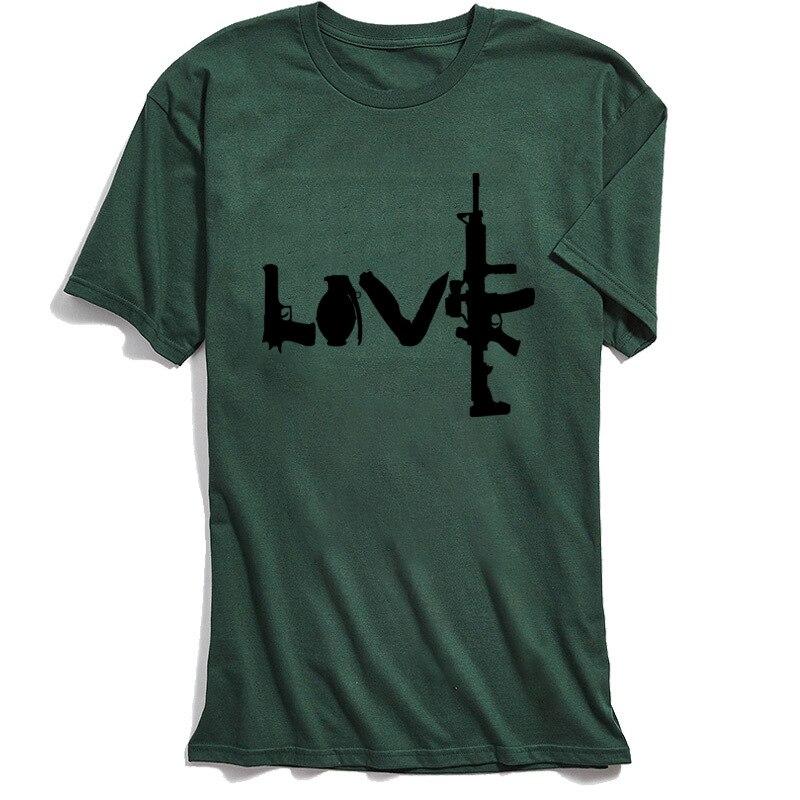 Liebe Waffen T-shirt Männer Military Stil T Hemd ar15 Vintage T-shirt 100% Baumwolle Hohe Qualität Grün Tops & Tees Männlichen streetwear