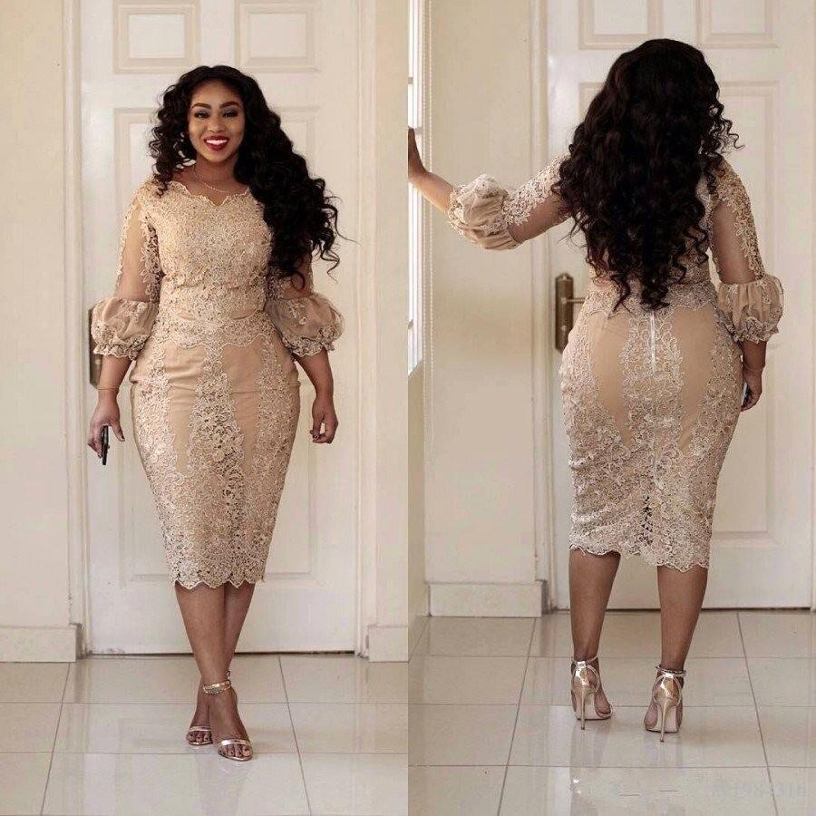 فستان سهرة رسمي نسائي مقاس كبير طول الشاي 3/4 كم طويل غمد فستان سهرة دانتيل مزين باللؤلؤ فستان حفلات عربي أفريقي