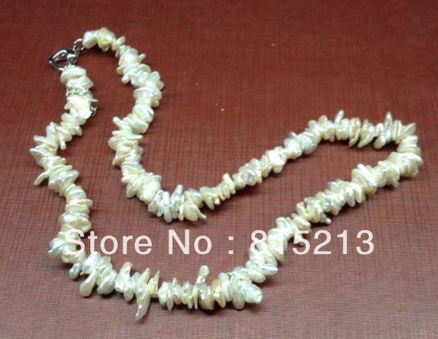 2017> @> N764 genuino 6-11mm pequeño Keshi collar de perlas 16
