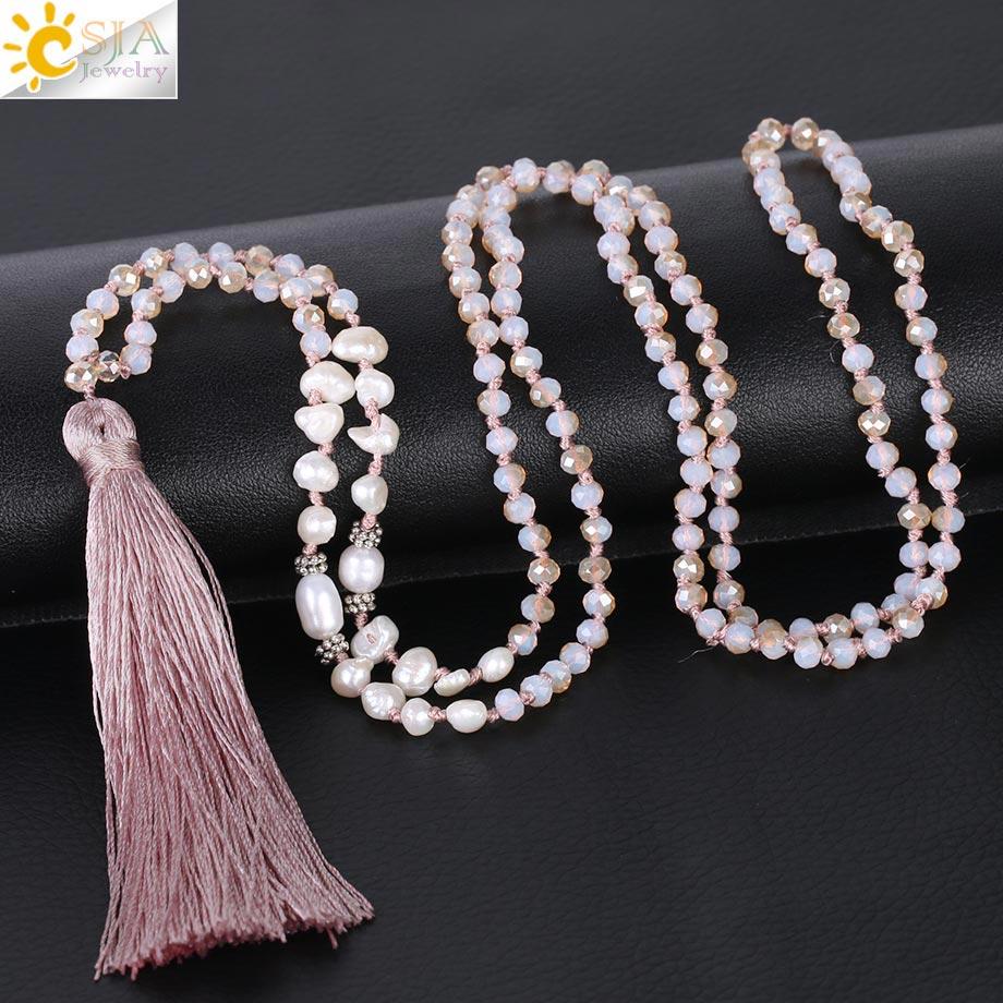Длинное женское ожерелье CSJA, колье с кисточкой, подвеска в виде ракушек Abalone, 4 мм, матовое Хрустальное ограненное ожерелье с узлом из бисера, ...
