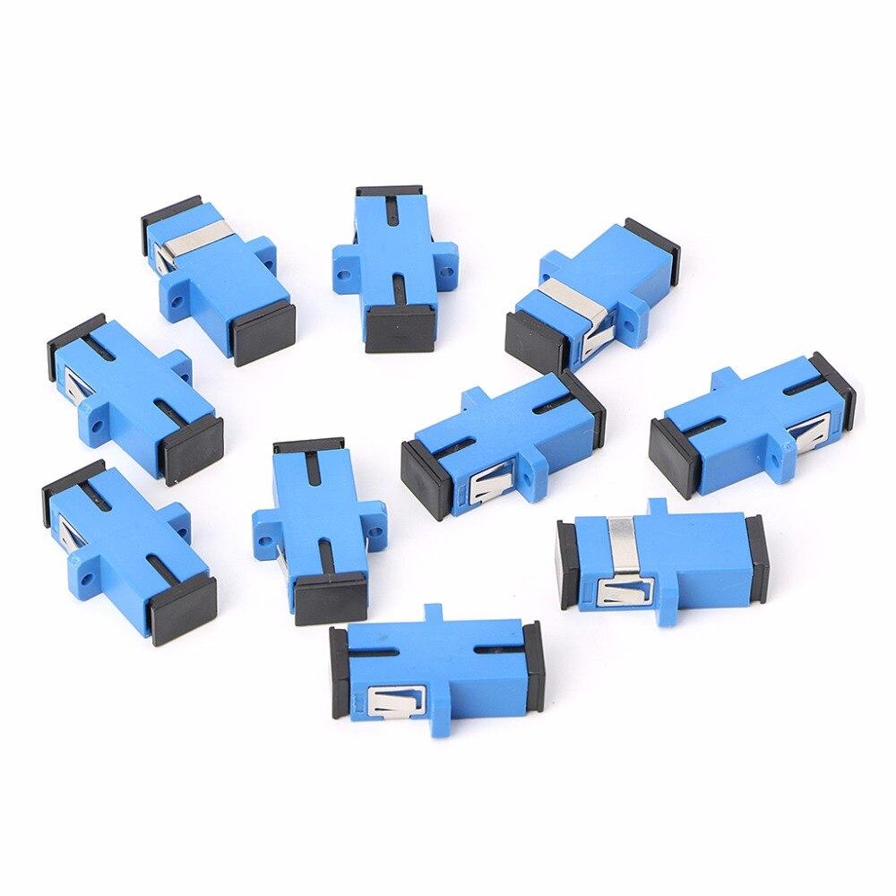 10 unids/set SC/fibra UPC, adaptador óptico, SC, brida de fibra óptica, conector SC/UPC