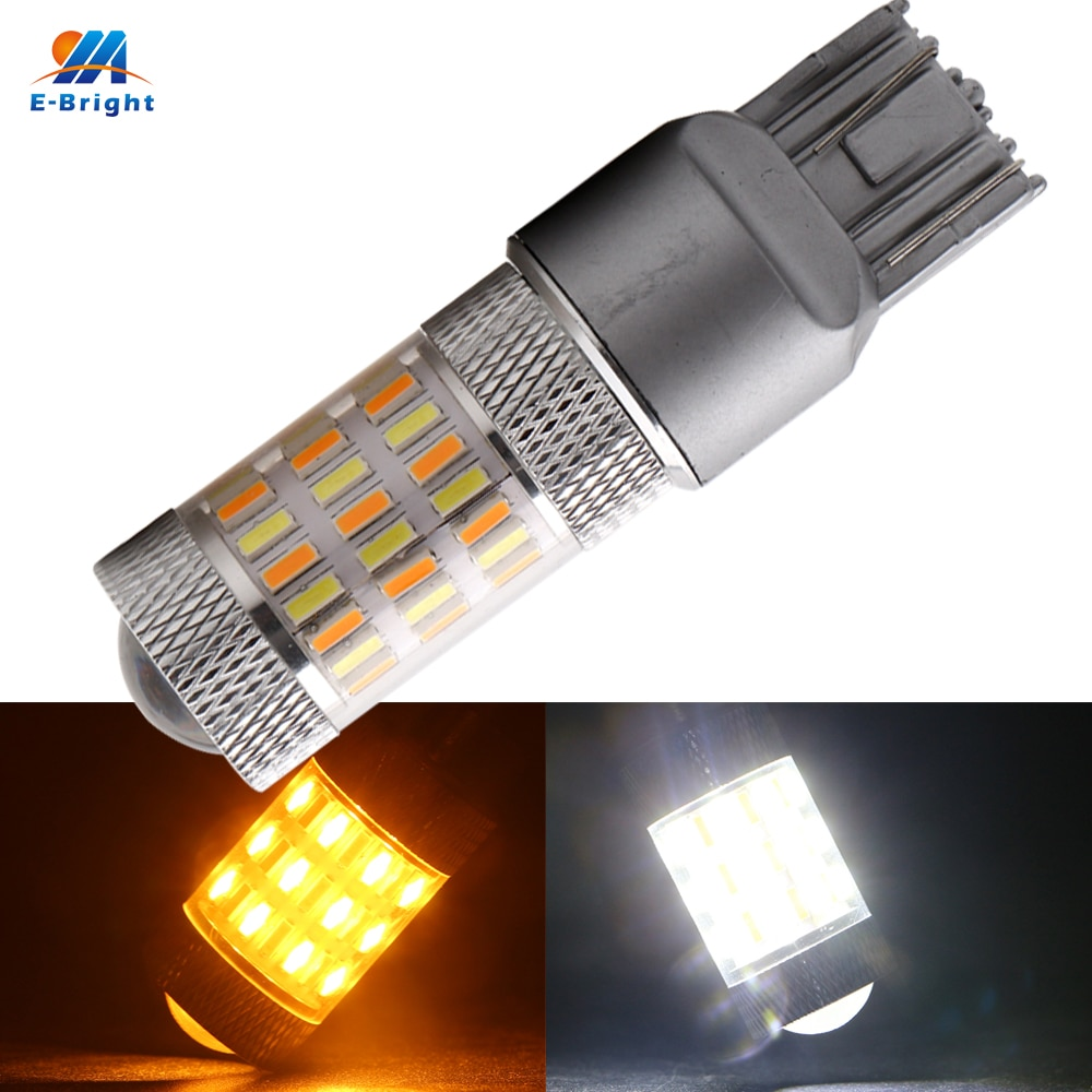 YM E-Helle 20PCS W21/5W T20 7443 4014 60 SMD Dual Farben Switch 12V DC LED Auto Blinker Auto Led Weiß/Bernstein 600Lumen