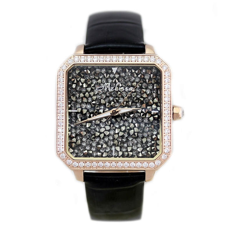 Relojes de moda de cristal austriaco reloj de lujo para mujer Miyota cuarzo melisa relojes de pulsera a prueba de agua reloj femenino zafiro