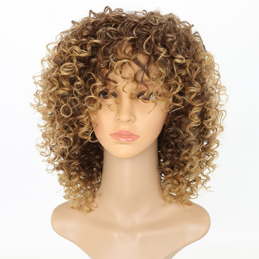 """Luxury For Braiding Heat Resistant Fiber 14"""" Ombre Blonde Color Afro Kinky Curly High Temperature Synthetic Wigs"""