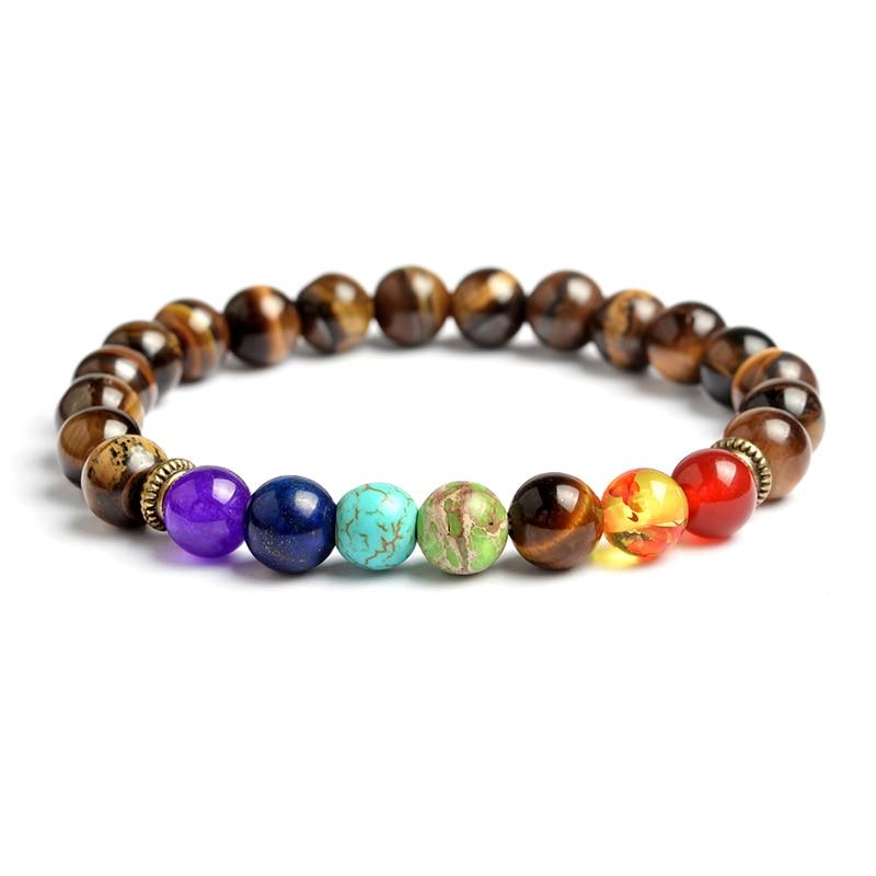 7 Chakra Beaded bracelet Tiger eyes Brown Black stone Healing Balance Beads Bracelet Yoga Life Energy Jewelry for Men Women