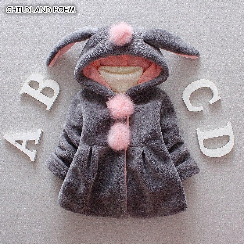 Chaqueta y abrigo para bebé niña de piel sintética para invierno, ropa de bebé con gorro de conejo, ropa para bebé con pompón, abrigo para bebés de 1 a 3 años