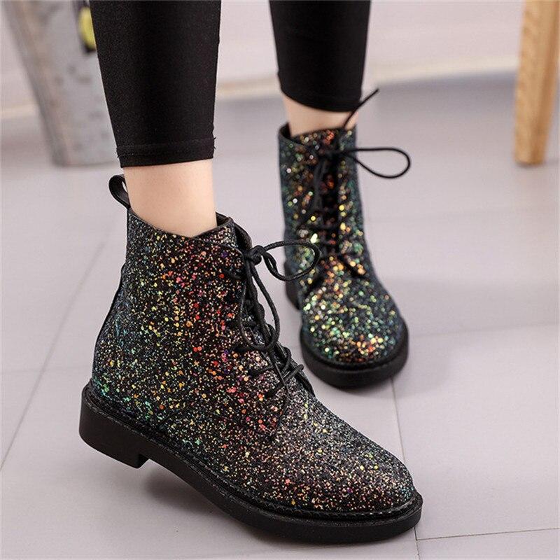 Botas al tobillo de marca para mujer, marca de diseñadores de COOTELILI, zapatos de tacón para mujer, botas de otoño con cordones brillantes, botas casuales Rosa negro blanco