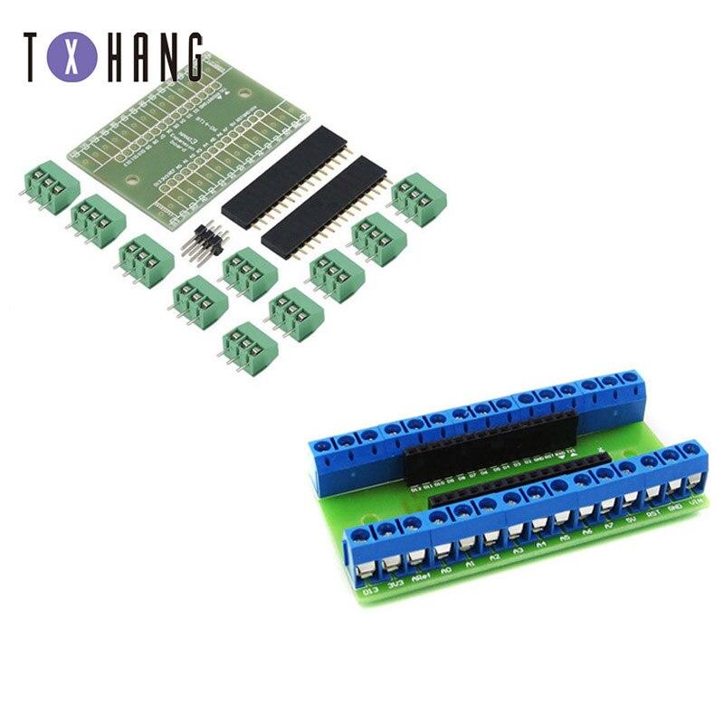 Tarjeta adaptadora de expansión de Nano Terminal para Arduino Nano V3.0 AVR ATMEGA328P con NRF2401 + interfaz de expansión de potencia CC
