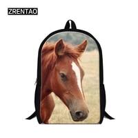 zrentao students backpack 3d horse print school bag for boys and girls travel shoulder bags teenager mochila polyeste bagpack